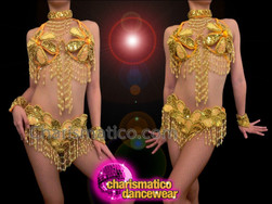 CHARISMATICO Golden Sequined Floral Patterned Showgirl'S Gogo Bra And Matching Thong