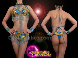 CHARISMATICO Blue And Gold Sequined Floral Patterned Gogo Bra And Thong