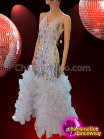 CHARISMATICO Diva's Jumbo Sequin Tasseled Silver Pageant Gown With Coordinating Headdress
