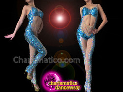 CHARISMATICO Daring Nude Illusion Sky Blue Iridescent Sequin Accented Diva'S Catsuit