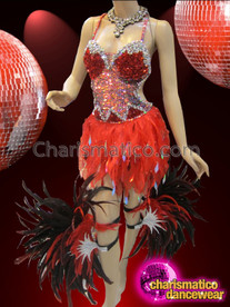 CHARISMATICO Red Sequined Feather Showgirl Dress With Coordinated Feather Leg Bands