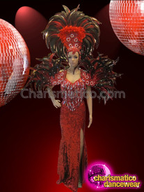 CHARISMATICO Matching Red And Black Feather Headdress, Collar, And Pageant Gown