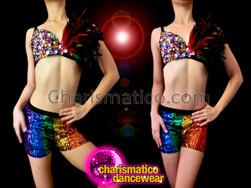 CHARISMATICO Gay Pride Random Rainbow Sequin Bra With Striped Rainbow Boyshorts