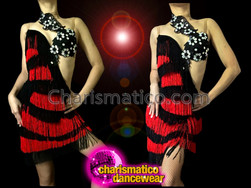 CHARISMATICO White Accented Black And Red Asymmetrical Latin Salsa Dance Dress