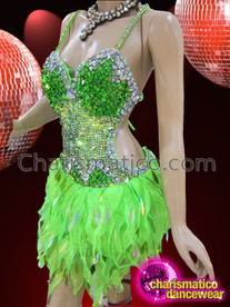 CHARISMATICO Multi-Tone Green And Crystal Accented Organza Flame Ruffle Diva'S Dress