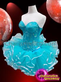 CHARISMATICO Sleek Silver Accented Sky Blue Brocade Corset And Tutu Skirt