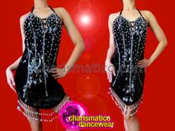 CHARISMATICO Black Corset Illusion Sequined Latin Dance Dress With Beaded Fringe
