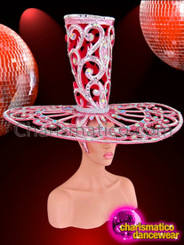 CHARISMATICO Open-Work Pink Glitter Diva'S Valentine Top Hat Headdress With Crystals