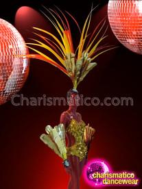 CHARISMATICO Gold Leotard, Wrist Guards, and Headdress Cabaret Diva Costume Set