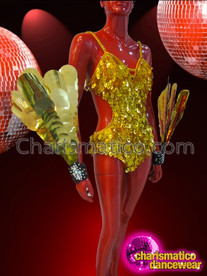 CHARISMATICO Gold Sequin Leotard and Wrist Guards Cabaret Showgirl's Costume Set