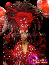 CHARISMATICO Classic Beaded Red Feathered Headdress With Coordinated Sequin Pageant Gown