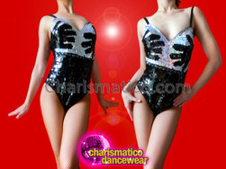 "CHARISMATICO €Œhands On"" Hand-Print Black And Silver Dance Leotard From Burlesque"