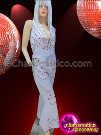 CHARISMATICO Diva'S Ruby, Amber And Crystal Accented White Retro Elvis Jumpsuit