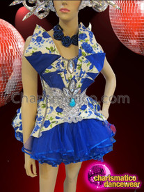 CHARISMATICO Stone Accented Diva's Royal Blue Floral Fluffy Dolly Mini Dress