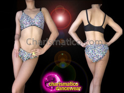 CHARISMATICO Iridescent Crystal Crusted Silver Bead Accented Showgirl's Bra and Panties