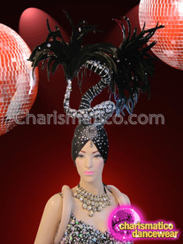 CHARISMATICO Wild Turban-Styled Silver And Crystal Accented Black Drag Queen Headdress