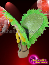 CHARISMATICO Whipple Styled Crystal Accented Green Spring Colored Flower Feather Headdress