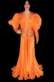 CHARISMATICO Vivid Pleated Organza Copper Sequin Accented Orange Drag Queen Coat