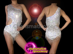 CHARISMATICO Retro Asymmetrical One Shouldered Beaded Fringe Silver Sequin Dance Leotard
