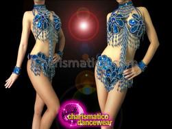 CHARISMATICO White Trimmed Royal Blue Sequin Samba Bra And Thong Set