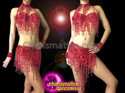 CHARISMATICO Richly Beaded Red Belly Dance Bra With Matching Belt Skirt