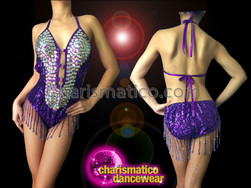 0459cd726c0e ... CHARISMATICO Iridescent Crystal Embellished Purple Beaded Fringe Latin  Halter-Style Dance Leotard