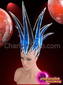 CHARISMATICO Sleek Mirror Tile Edged Royal Blue and Black Glitter Futuristic Headdress