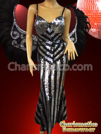 SILVER CABARET PAGEANT Feather DRAG QUEEN BACKPACK+HEADDRESS+ SEQUIN GOWN SET