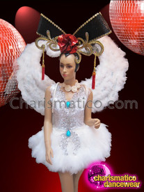 CHARISMATICO White Feather Dress, Wing, And Chinese Headdress Diva Costume Set