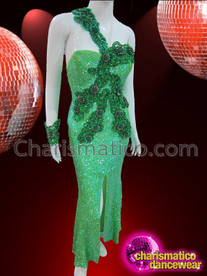CHARISMATICO One Shouldered Two Toned Green Appliquã© Sequin Diva'S Pageant Gown