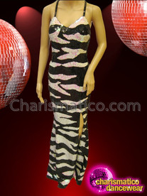 CHARISMATICO Sleek Sexy Black And White Sequin Zebra Patterned Pageant Gown