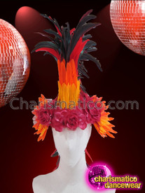 CHARISMATICO Exotic Gold, Orange And Red Feather Mohawk Diva Carnival Headdress