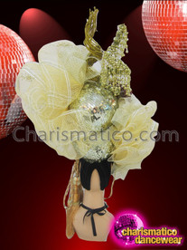 CHARISMATICO Pale Yellow Embellished Tulle Headdress With Cream Peony Accent Flowers