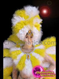 CHARISMATICO Yellow And White Boa Feather Brazilian Rio Carnival Costume Set