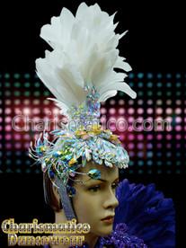 White Show Girl Transvestite Cabaret Feather Headdress Head Gear