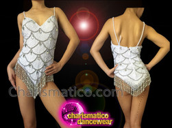CHARISMATICO White Sequin Dance Leotard With Silver Scale Pattern And Beaded Fringe