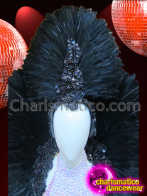 CHARISMATICO Sleek Beaded Base Sequined Black Feathered Headdress And Collar Set