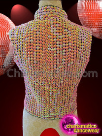 CHARISMATICO High Necked Iridescent Shimmering Pink Beaded Zipper Front Cabaret Vest