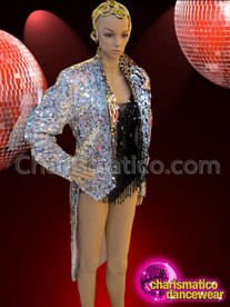 CHARISMATICO Diva'S Sleek Iridescent Silver Sequined Tail Suit Jacket For Cabaret