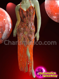 CHARISMATICO Peach, Orange, And Brown Patchwork Gown With Long Fringe Skirt