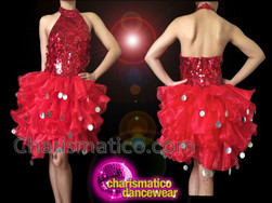 CHARISMATICO Sleek Red Dress With Jumbo Sequin Accented Tutu Ruffle Skirt