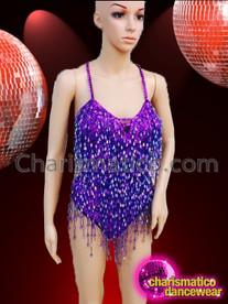 CHARISMATICO Classic Styled Purple Beaded Fringe Showgirl'S Costume Base Dance Leotard