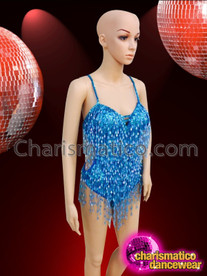 CHARISMATICO Classic Styled Blue Beaded Fringe Showgirl's Costume Base Dance Leotard