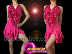 CHARISMATICO Halter Style Fuchsia Ruffle Dance Dress With Sequin Neck Fringe