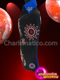 CHARISMATICO Ruby and Rhinestone Embellished Blue Trimmed Black Elvis Suit Jacket
