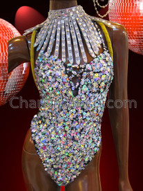 CHARISMATICO Iridescent Crystal Crusted Dance Leotard And Exotic Matching Choker Necklace