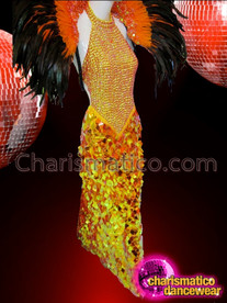 CHARISMATICO Sexy Beaded Top Orange Pageant Gown With Jumbo Sequin Skirt