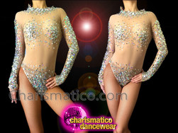 CHARISMATICO Nude Illusion Crystal And Silver Sequin Accented Dance Leotard