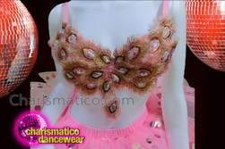 CHARISMATICO Pink Peacock Lace Bra With Matching Jumbo Sequin Accented Tutu