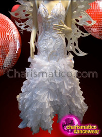 CHARISMATICO Leafy Fairy Styled White Glitter Wing And Headdress With Gown